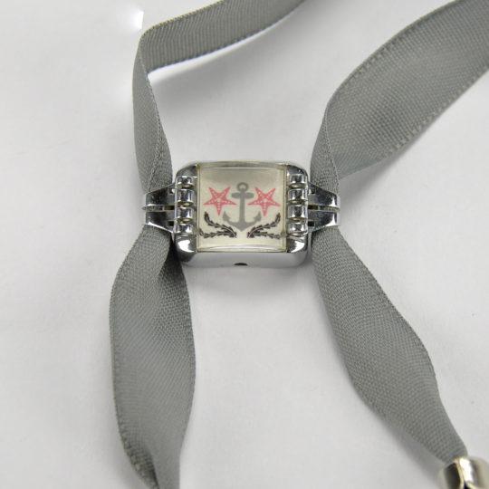 Emilie bracelet acre grise astéries roses 1